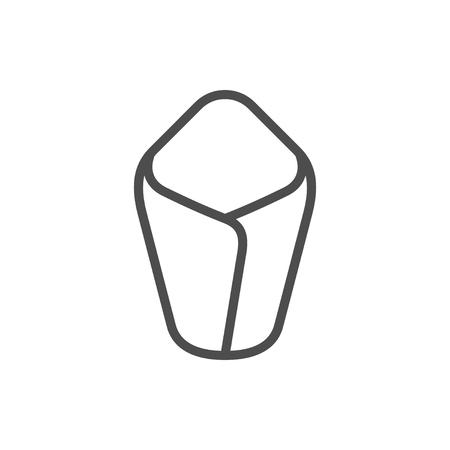 Newborn sleeping bag line icon isolated on white. Vector illustration