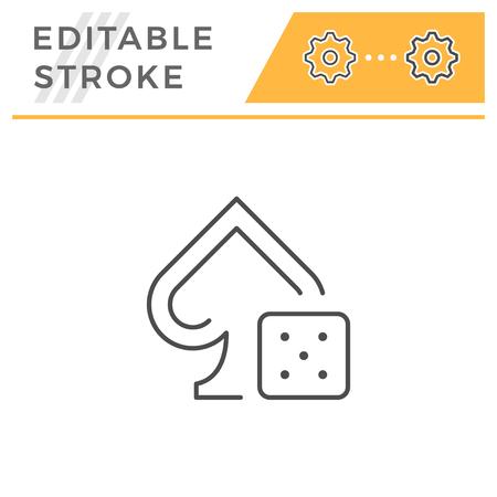 Gambling line icon isolated on white. Editable stroke. Vector illustration