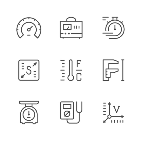 Set line icons of measurement isolated on white. Vector illustration