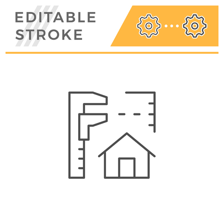House project line icon isolated on white. Editable stroke. Vector illustration