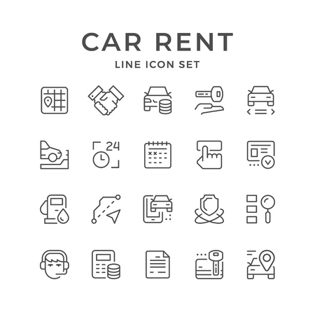 Set line icons of car rent isolated on white. Vector illustration