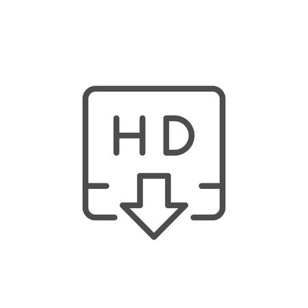 HD video downloading line icon isolated on white. Vector illustration