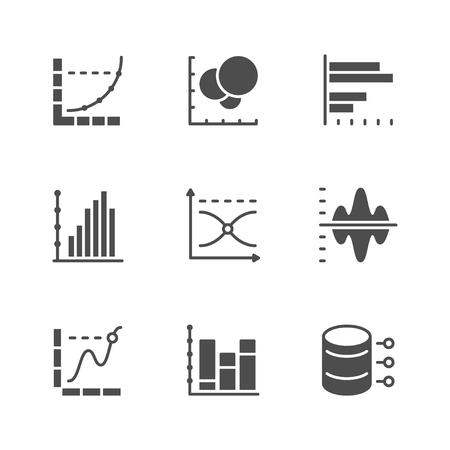 Stellen Sie Ikonen des Diagramms und des Diagramms ein, die auf Weiß lokalisiert werden. Vektor-Illustration