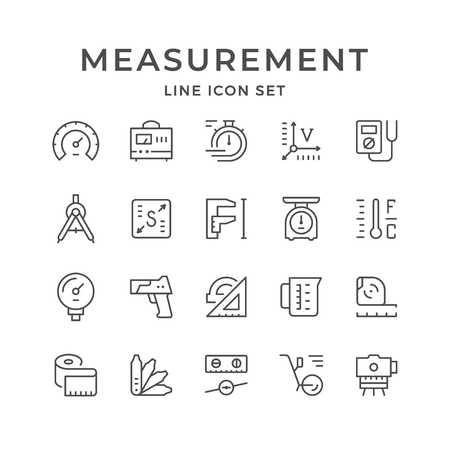 Set line icons of measurement