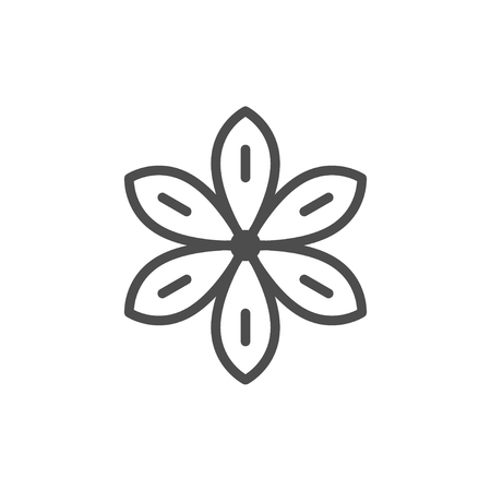 Star anise line icon isolated on white. Vector illustration