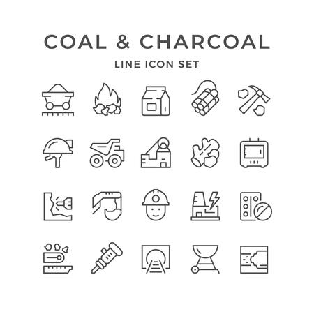 Set line icons of coal and charcoal Ilustração