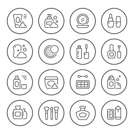 Set round line icons of cosmetics isolated on white. Vector illustration