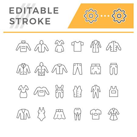 Définir des icônes de ligne de vêtements isolés sur blanc. Trait modifiable. Illustration vectorielle