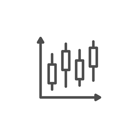 Stock graph line icon isolated on white. Vector illustration