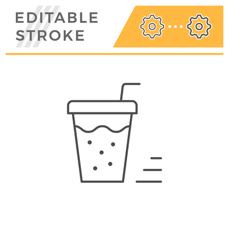 Drink line icon isolated on white. Editable stroke. Vector illustration