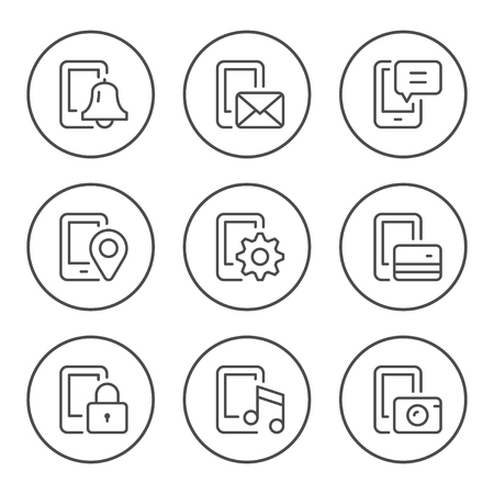 Set round line icons of mobile phone functions isolated on white. Vector illustration