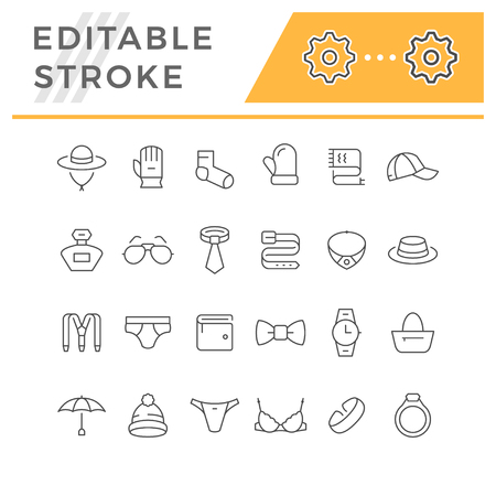 Set line icons of accessories isolated on white. Editable stroke. Vector illustration Stock Illustratie