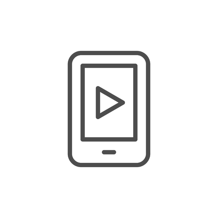 Mobile video line icon isolated on white. Vector illustration