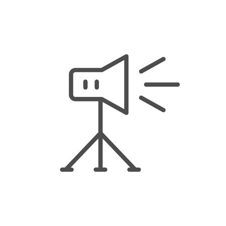 Studio lighting line icon isolated on white. Vector illustration Çizim