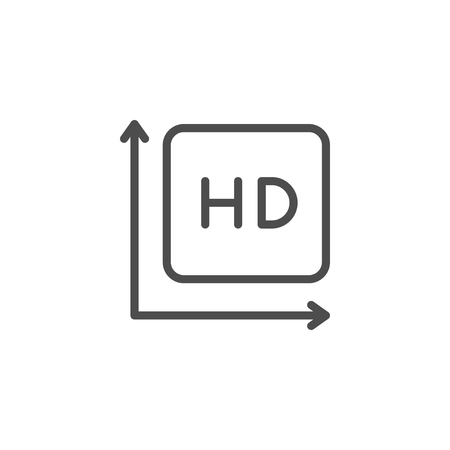 HD video line icon isolated on white. Vector illustration  イラスト・ベクター素材