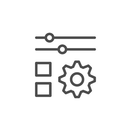 Settings line icon isolated on white. Vector illustration Illustration