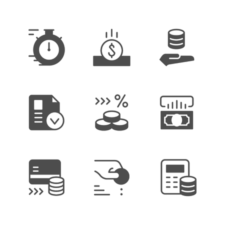 Set icons of credit isolated on white. Vector illustration
