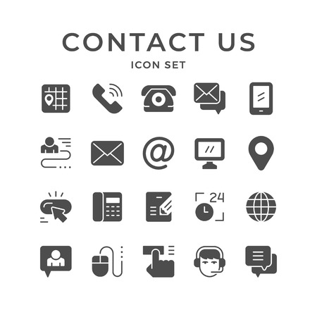 Set icons of contact us isolated on white. Vector illustration
