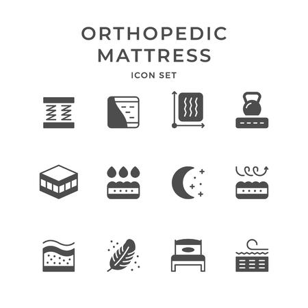 Set iconen van orthopedische matras