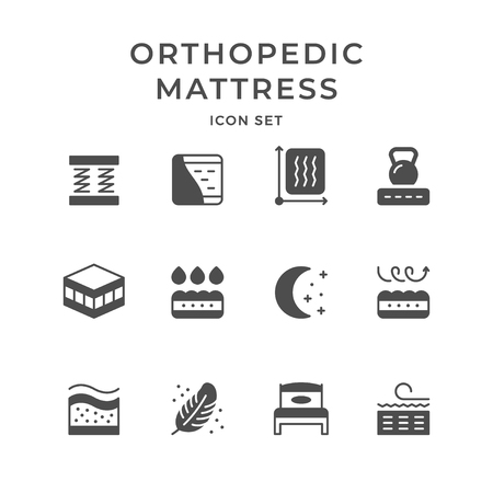 Set icons of orthopedic mattress