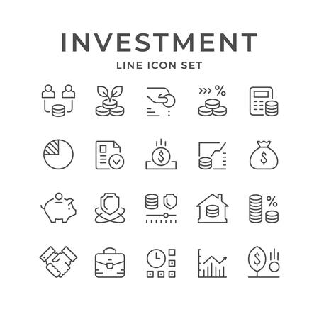 Legen Sie Liniensymbole für Investitionen, isoliert auf weiss, fest. Vektor-Illustration