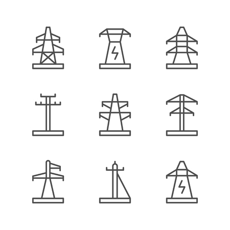 Set line icons of electrical pylon Foto de archivo - 119379404