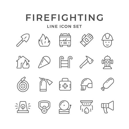 Set line icons of firefighting 일러스트
