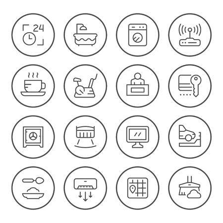 Set round line icons of hotel