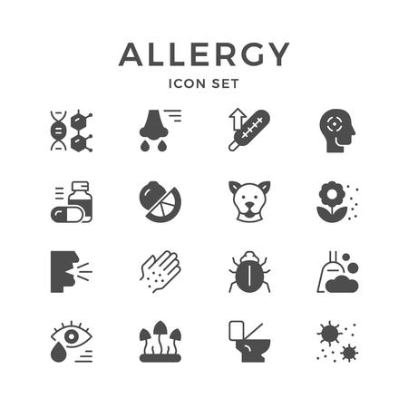 Fije los iconos de la alergia aislados en blanco. Ilustración vectorial