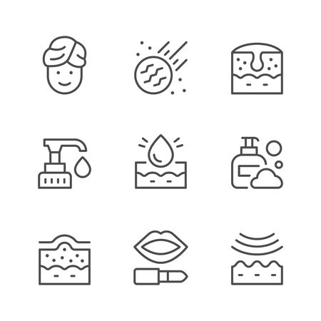 Set line icons of skin care isolated on white. Vector illustration