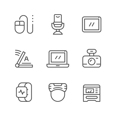 Set line icons of gadget