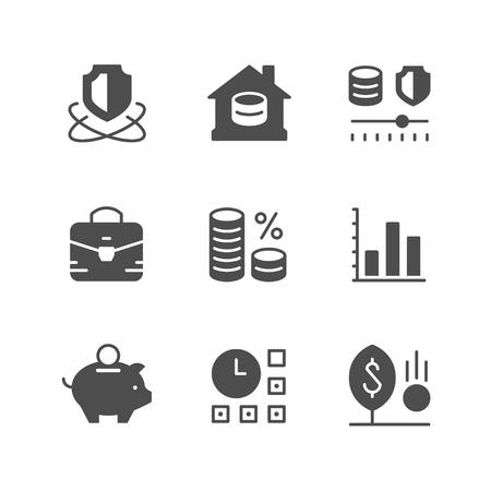 Set icone di investimento