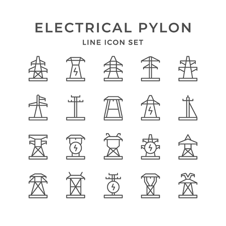 Set line icons of electrical pylon isolated on white. Vector illustration