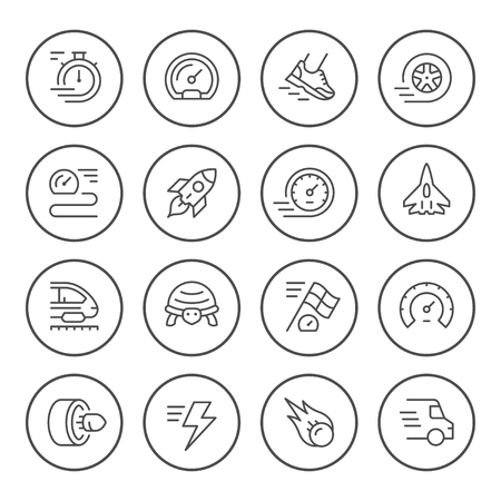 Set round line icons of speed isolated on white. Vector illustration