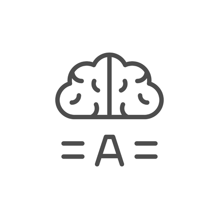Copywriting brainstorm line icon isolated on white. Vector illustration