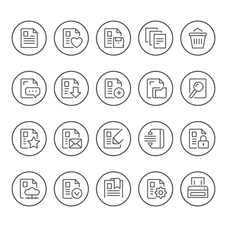Set round line icons of document isolated on white. Vector illustration
