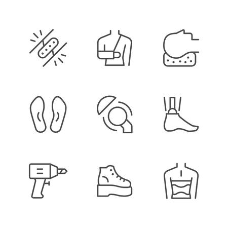 Set line icons of orthopedics isolated on white. Vector illustration