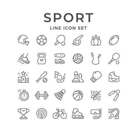 Stel lijnpictogrammen van sport in