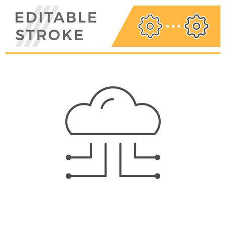 Cloud storage line icon Çizim