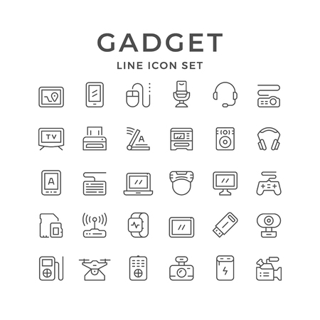 Set line icons of gadget isolated on white. Vector illustration Vecteurs