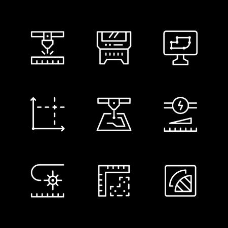 Set line icons of laser cutting isolated on black. Vector illustration Ilustração