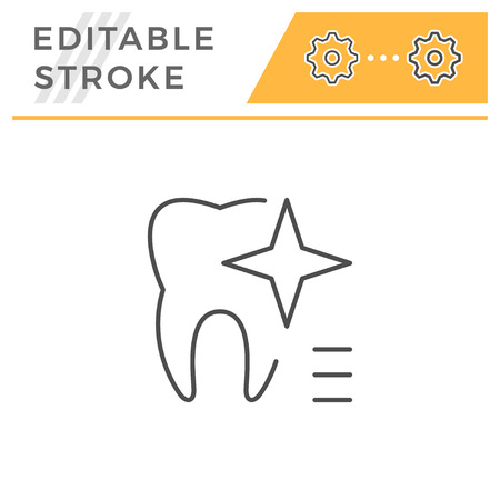 Teeth whitening editable stroke line icon