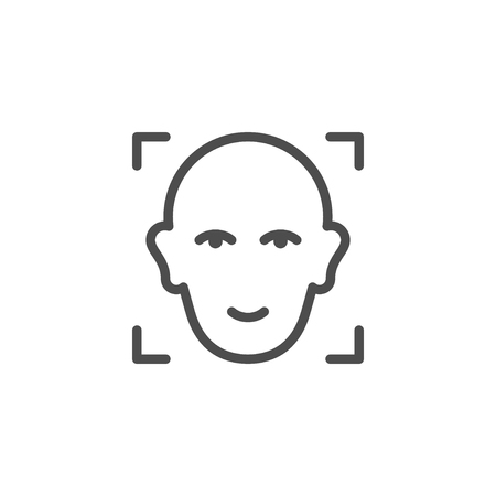 Face ID line outline icon Illustration