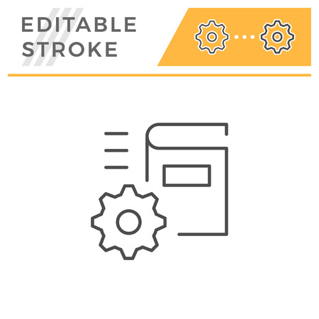 Technical documentation editable stroke line icon isolated on white. Vector illustration  イラスト・ベクター素材