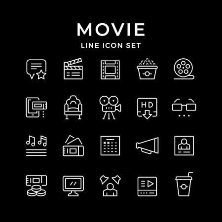 Set line icons of movie Vektorgrafik