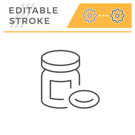 Pills editable stroke line icon Vektorové ilustrace
