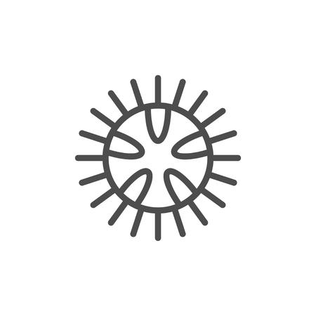 Icono de contorno de línea de erizo de mar