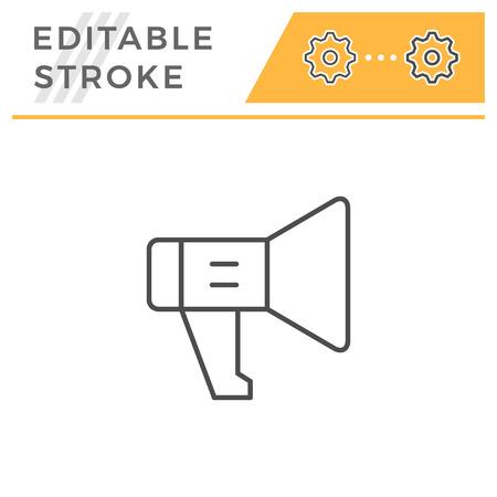 Loudspeaker editable stroke line icon isolated on white. Vector illustration