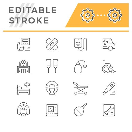 Set of medical editable stroke icons Vectores