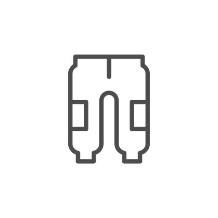 Sport pants line outline icon isolated on white. Vector illustration Çizim